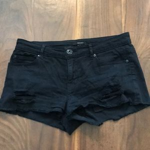 Black distressed shortie shorts. FOREVER 21.
